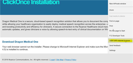 DMO ClickOnce Install Button Missing in Microsoft Edge Browser